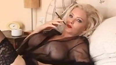 Smoking amazing blonde