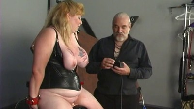 Big tit blonde in leather..