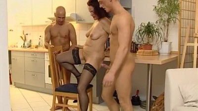 Horny milf and two guys..