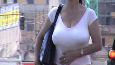 Candid mature big boobs