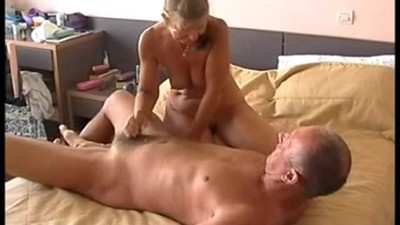 Wife gives husband handjob