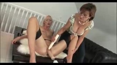 Blonde MILF on dildo chair..