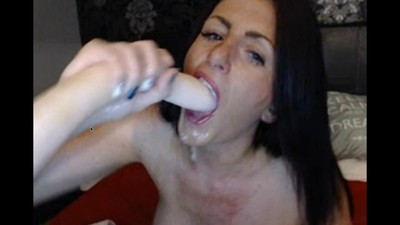 milf gagging on dildo on..